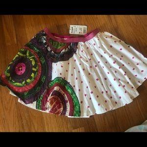 Desigual girl flare polka dot cotton skirt.